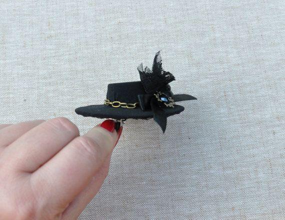 Black Tiny Top Hat black top hat black mini  hat by Blackpassion