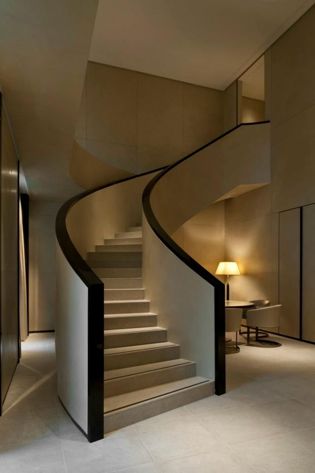 Armani Hotel Milan is as chic and spare as its namesake with this curved and modern staircase