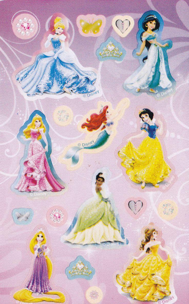 Stickers ark med Disney prinsesser