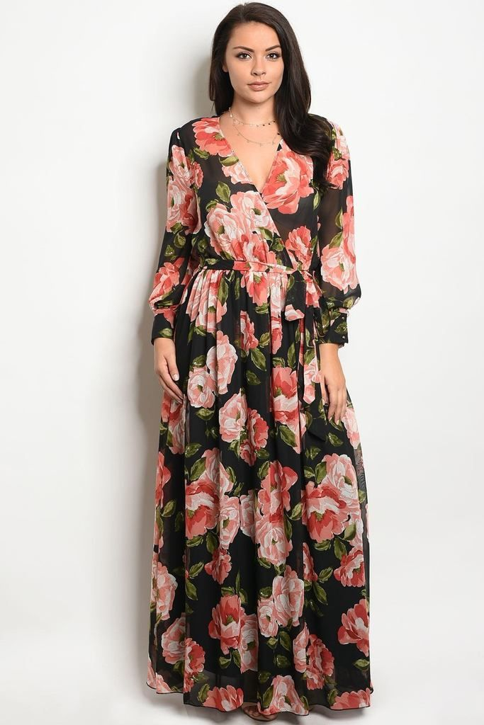 acd32553a2c0 Floral Chiffon Maxi Dress, Boho Dress, Sheer Chiffon, Print Chiffon, Black  Dress