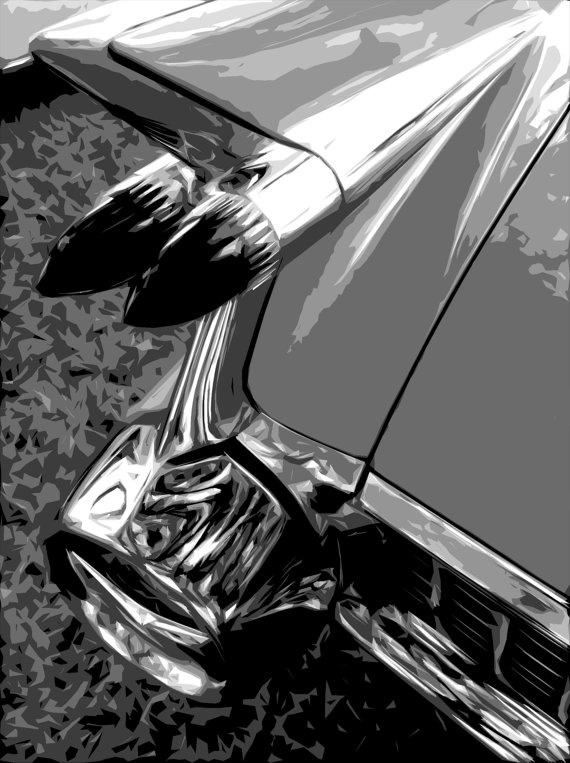 Abstract Black and White Cadillac classic car by Creativeagain, $6.00