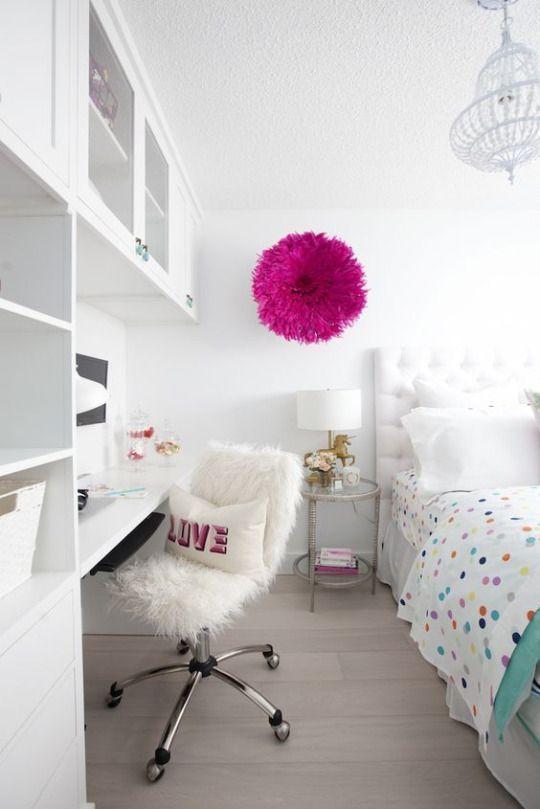 Habitaciones juveniles blancas. Decoración infantil y juvenil, Decoideas.net #habitacionadolescenteschicas #decoracionhabitacionjuveniles