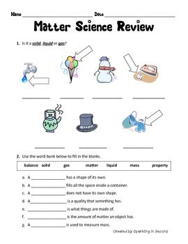 This is a matter review sheet.  It covers:  States of matter  Measuring matter  Vocabulary  Reversible/Irreversible changes  *************************************************************************** BLOG & INSTAGRAM & FACEBOOK ***************************************************************************