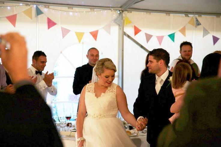 Bride and groom entrance  Bunting Wedding Fairy lights