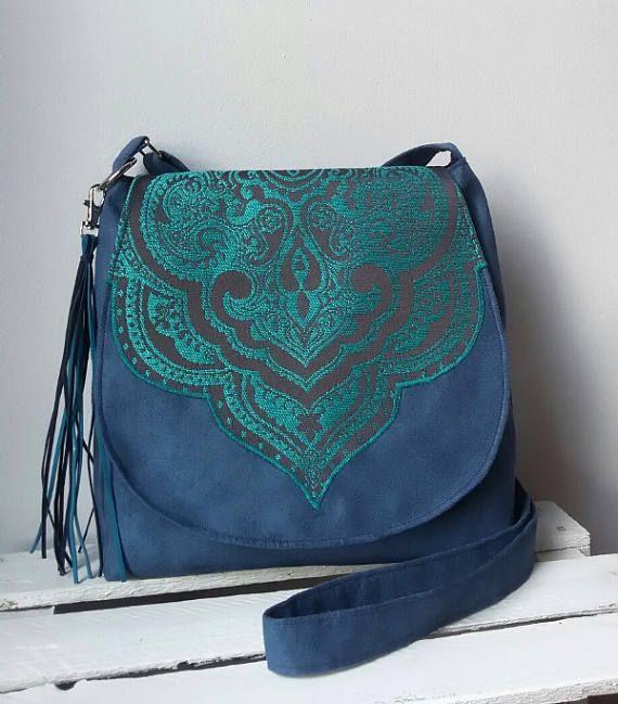 Blue oriental bag Boho chic messenger bag Sling crossbody bag Vegan bag Evening bag  Medium size bag Oriental purse Tassel bag Hippie bag