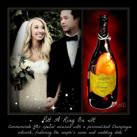 Time to celebrate! Put A Ring On It A painting of a champagne bottle with wedding rings around the neck ,commemorating love and marriage. Celebrate weddings by giving the gift of a champagne artwork, personalized with the couples name and special wedding date on the label. The bottle