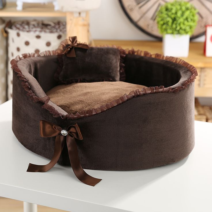 Pet kennel High-quality Circular Small dog house lace bow pet nest cat dog beds Send a pillow 2 colour  pet products // Worldwide FREE Shipping //     #petsupplies