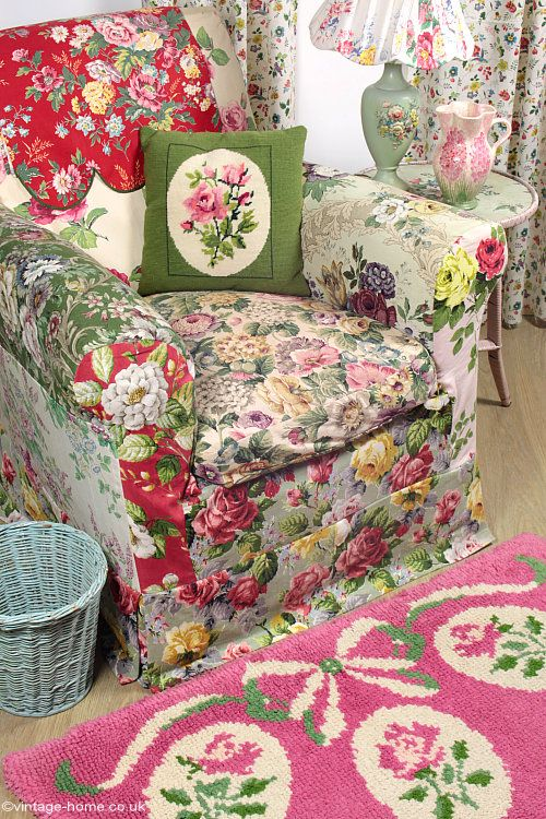 Our Cosy English Cottage with Vintage Rose and Floral Fabrics, Patchwork Chair, Handmade Rug and Tapestry Cushion: www.vintage-home.co.uk