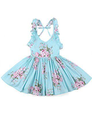Flofallzique Girls Cotton Vintage Print Floral Princess Dress For Toddler and Girls