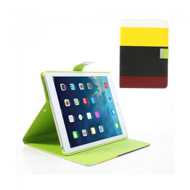Freestyle (Keltainen/Musta/Punainen) iPad Air Nahkakotelo - http://lux-case.fi/ipad-air-suojakuoret.html