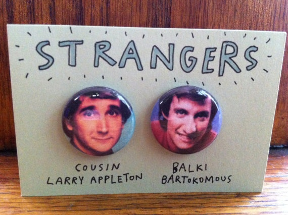 Perfect Strangers - 80s 90s Tv show cousins button pin pack  Don't be ridiculous! Wear these sweet badges while you do the Dance of Joy or when traveling to the island of Mypos.  Cousin Larry Appleton + Balki Bartokomous
