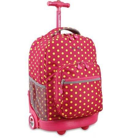 Pink Buttons Red Yellow Kids Rolling Backpack Recessed 3 Stage Locking Handle