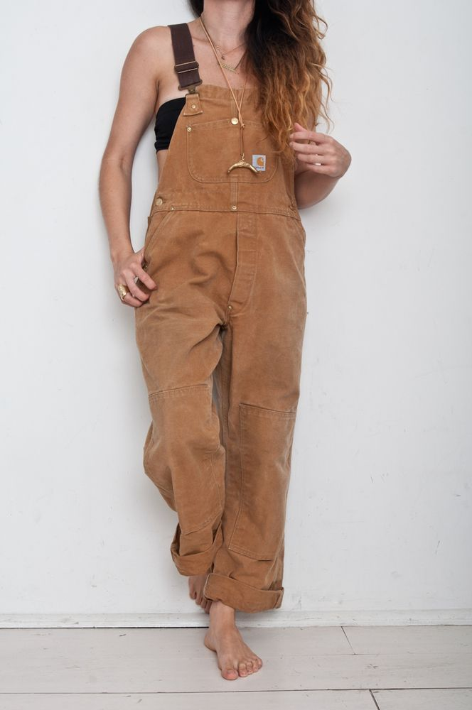Carhartt Brown Vintage Overalls with black top. So cool now!