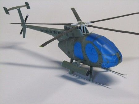 Hughes OH-6 Cayuse Helicopter Army Paper Model