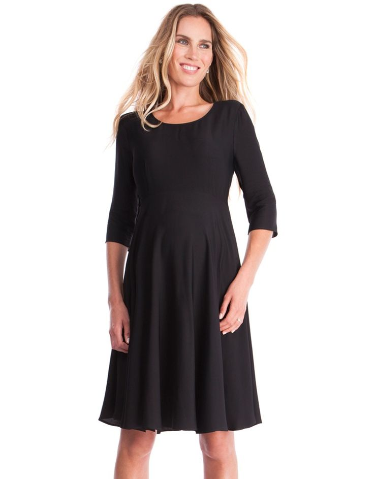 Fluid viscose   Empire waist   ¾ sleeves   Above the knee   Back zip with key hole detail   The little black dress is every woman's secret weapon – a way to look effortlessly chic at every occasion. So finding the perfect one for pregnancy is sure to pay off. Our Woven Maternity Swing Dress in classic black is made in the softest fluid viscose, and designed to drape beautifully over your figure. A curved empire waistline defines your shape, while the skirt falls in a relaxed fit n flare…