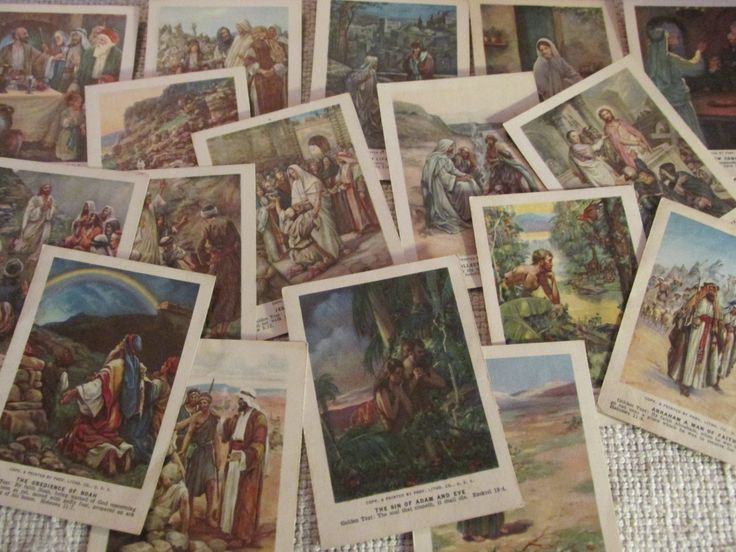 Vintage 1930s Sunday School Bible Picture Cards Lot of 15 Bible Pictures for Our Little Ones 1937A