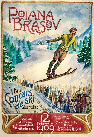 Intaiul Concurs de Ski, Poiana Brasov, 1909, Romanian Vintage Poster.