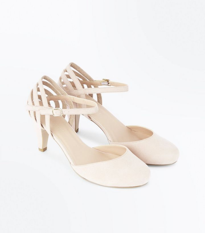 Z2018  Extra Wide Fit Nude Suedette Cage Back Courts | New Look