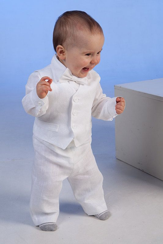 Baby Boy Linen Suit Baptism Outfit Clothes Ring