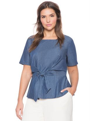 Tie Front Chambray Top from eloquii.com