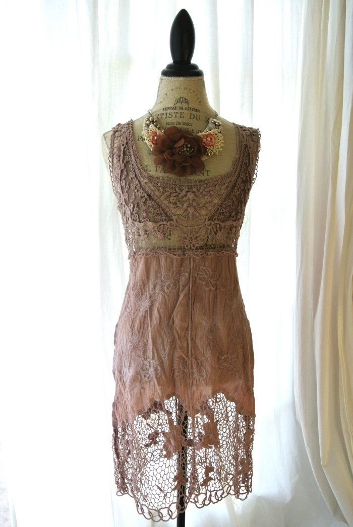 Vintage lace dress, shabby lace, cottage chic, french market, romantic womens clothing, coffee stained, farm girl