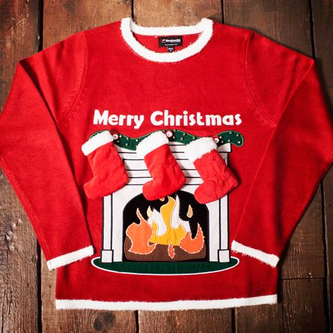 Light Up Fireplace Christmas Jumper with Stockings from Firebox.com... this is fantastically tacky
