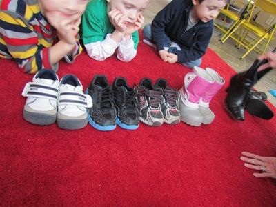 Students use real-world items, like shoes, to compare and sort sizes, color, purpose, make, and type of shoes.