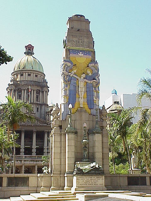 The Cenotaph was erected in Farewell Square, Durban, South Africa, as a war memorial to soldiers who died in World War I. Standing about 11 metres (36 feet) high, the Cenotaph is built of granite decorated with glazed ceramic tiles depicting two angels raising the soul of a dead soldier. The vivid colour of the figurative decoration makes the Cenotaph possibly unique among World War I memorials of its kind.