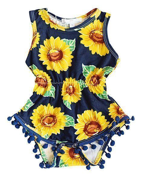 e2108cdf855 Sunflower Pom Pom Romper  BabyTips  toddlerclothing