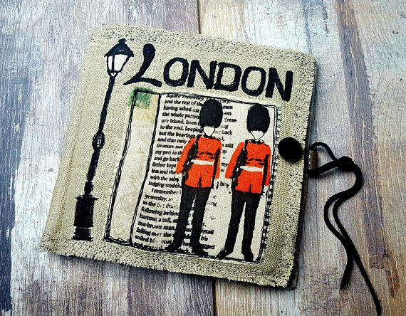 LONDON NEEDLE BOOK Linen Felt Needle Case Pin Cushion Contemporary Machine and Hand Embroidery Leather Strings Handmade Fabric Gift