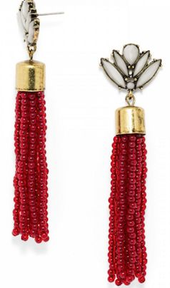 Pretty red and gold statement earrings