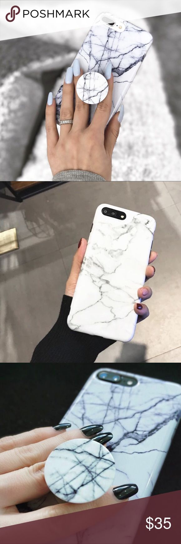 *BUNDLE DEAL* white marble iPhone case + popsocket *PREORDER NOW* This is a bundle deal for white marble iPhone 7 plus case plus matching popsocket.  -Brand new -Shiny -Soft silicon  -Scratch proof -Slip proof  If you don't want to preorder but would like to know when it's in stock, comment below to be notified when it's here!  Accessories Phone Cases