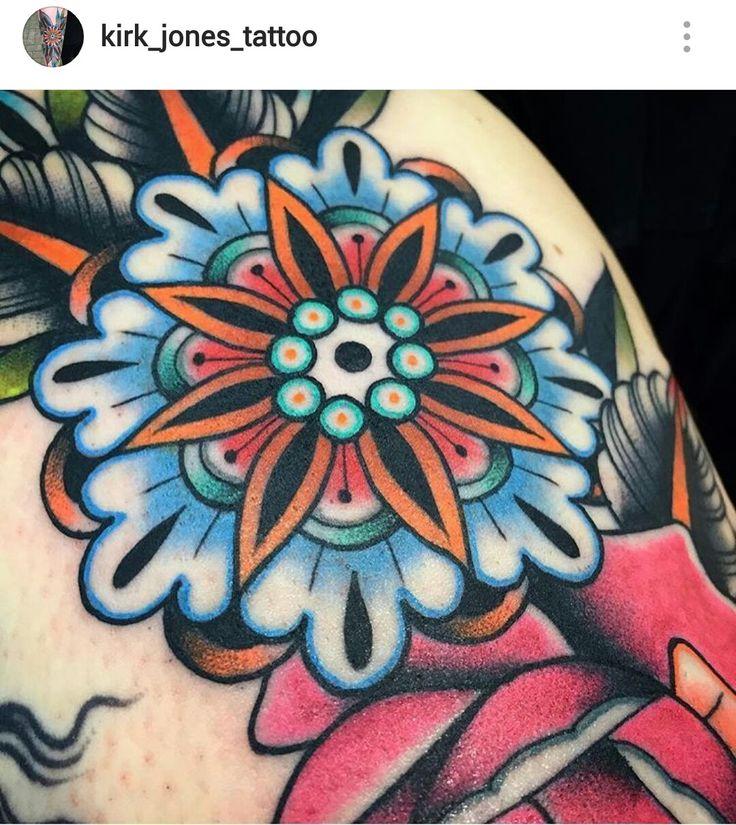 American traditional mandala tattoo by Kirk Jones