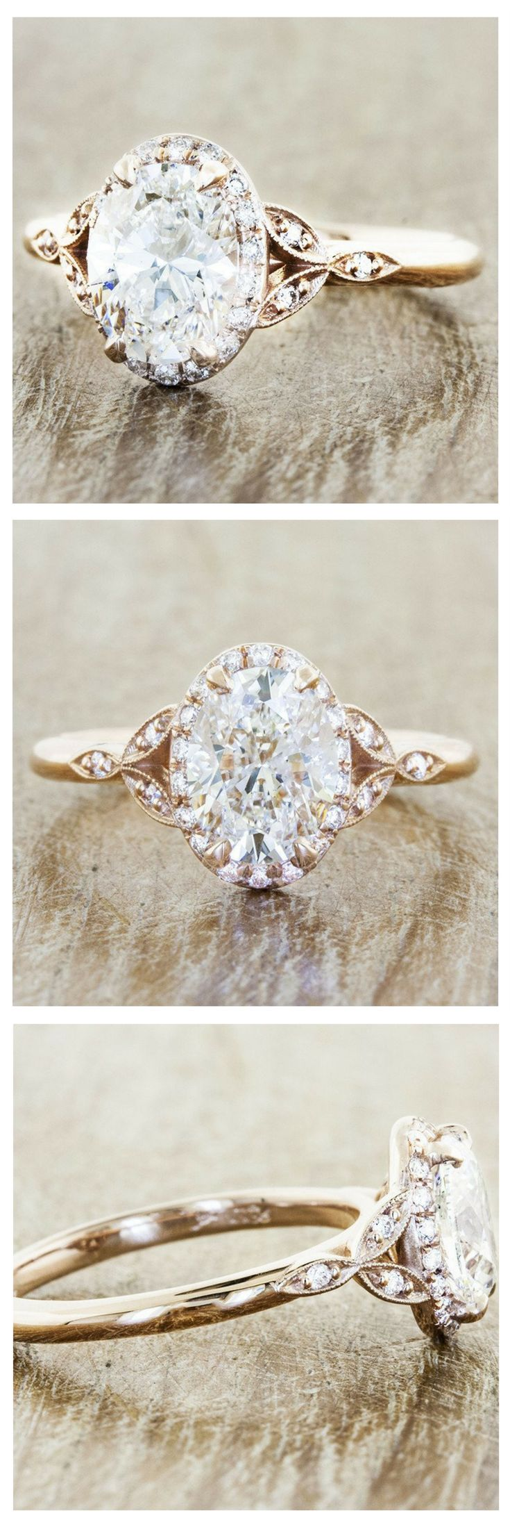 The Rachael is a custom engagement ring crafted with a brilliant, conflict-free oval cut diamond wrapped in a rose gold brand. by Ken & Dana Design.