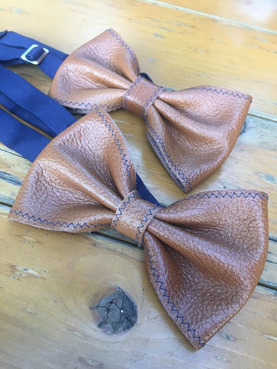 Leather bow tie for men// bow tie// fancy gift/ suit accessories/wedding suit/gift for him/gift packaging box/groomsmen gift /brown leather