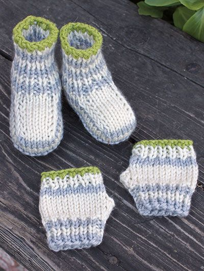 Knitting Patterns For Baby Mittens And Booties : Knit - Fingers and Toes Knit Booties and Fingerless Mitts - #AK00828 knit: ...