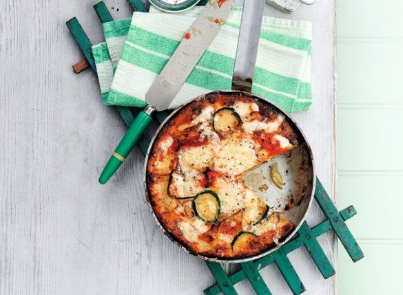 Roasted red pepper and courgette frittata  Ready in: 45 minutes  Serves: 4    Ingredients:  - 2 red peppers, halved and deseeded  - 500g new potatoes, thickly sliced  - 2 tbsp olive oil  - 1 red onion, thinly sliced  - 1 courgette, trimmed and sliced  - 8 medium eggs  - 120g mature Cheddar, grated
