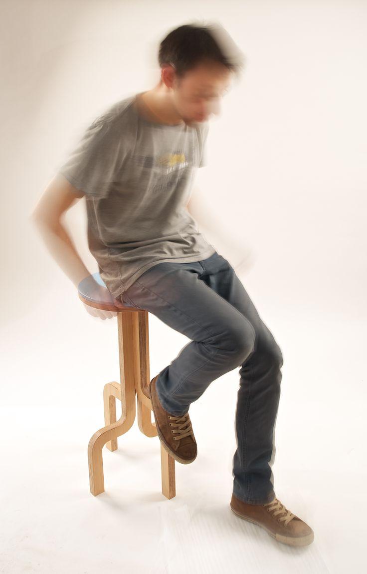 Bar Stool, made of stratified beech wood, by 201 Design Studio