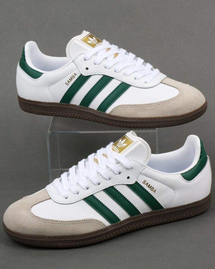 New Samba release in white leather with green ///-trim and a dark gum sole - the colourway reminds me of the original adidas Universal West German 'Police' issue...
