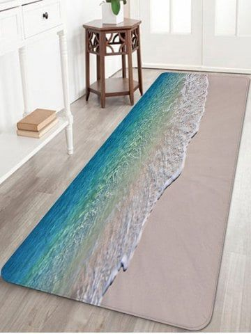 Beach Seaside Waves Print Floor Rug