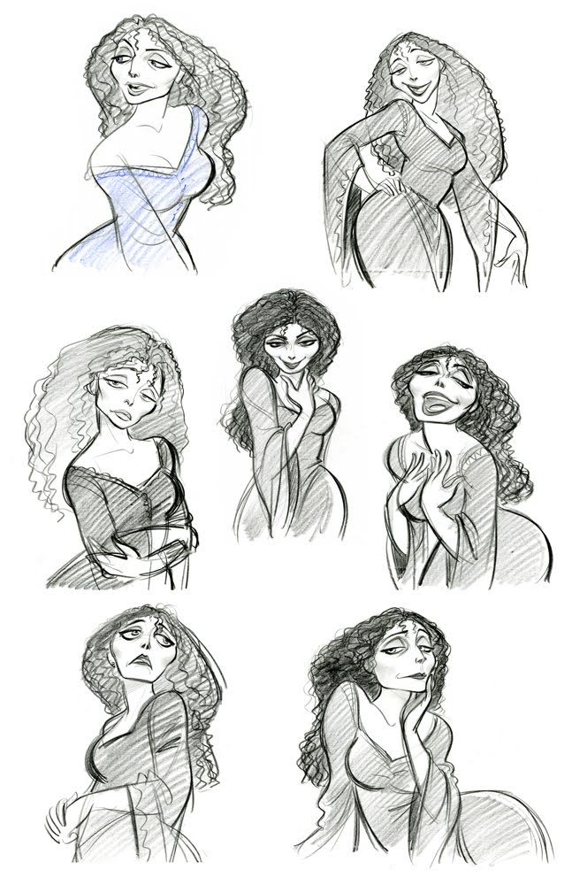 Mother Gothel character design ★    Art of Walt Disney Animation Studios © - Website   (www.disneyanimation.com) • Please support the artists and studios featured here by buying their artworks in the official online stores (www.disneystore.com) • Find more artists at www.facebook.com/CharacterDesignReferences  and www.pinterest.com/characterdesigh    ★