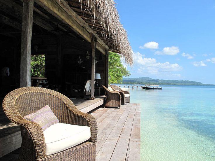 The Lounge in Fish Village...the perfect spot for Sunset Drinks. Ratua Private Island, Vanuatu  www.islandescapes.com.au