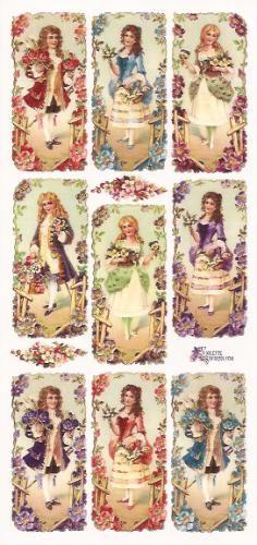 Victoriaanse dames en heren poezieplaatjes Stickers P34