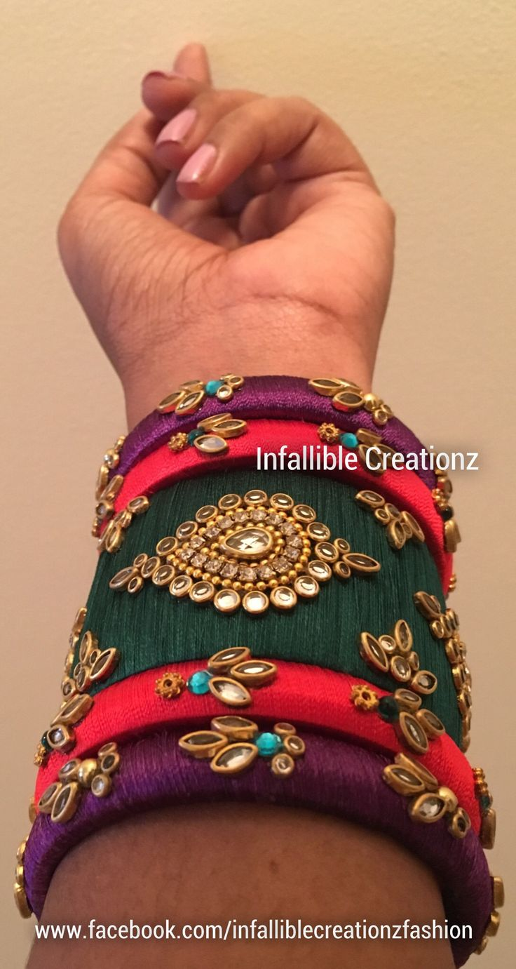 "To order Whatsapp +91 9791090024 For more collections visit ""www.facebook.com/infalliblecreationzsilk"".      Silk Thread jewelry, silk thread bangles, silk thread bridal bangles, wedding bangles, silk thread bangles wholesale, engagement bangles, Grand silk thread bangles, bangles, seemandham bangles, party wear bangles, silk thread jewellery, handmade jewelry, infallible creationz, Bridal Bangles, Customized Bridal Bangles, Designer Bangles, silk Bangles, Kundan Stone Bangles, Kundan…"