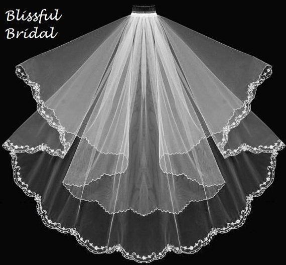 Embroidered Beaded Edge Wedding Veil 2 Tier by BlissfulBridalShop