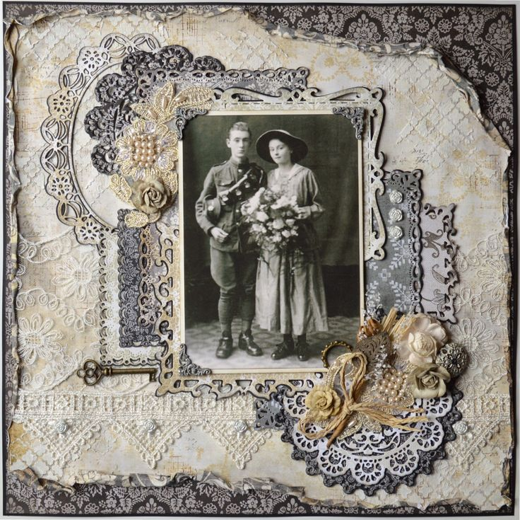 Maternal Grandparents Wedding Day ~ Lovely mixed media heritage page with a stenciled and lace covered background.