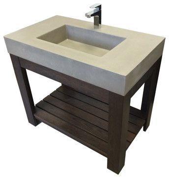 "36"" Lavare Novo Concrete Vanity Bathroom Sink, White Linen, No Hole transitional-bathroom-sinks"