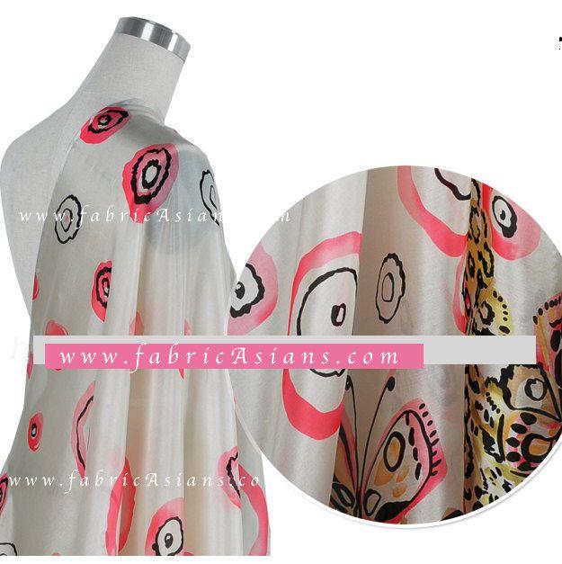 Pink Silk Chiffon. Butterfly fabric by the yard