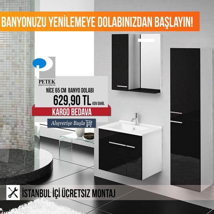 Petek Nice 65 cm Banyo Dolabı 629,90 TL kdv dahil! İstanbul İçi Ücretsiz Montaj. #banyotrendy #banyodolabı #petekbanyo #banyodekorasyon #banyo