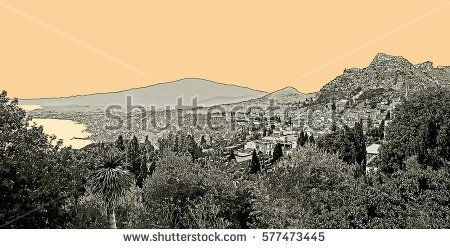 Seaside landscape with Taormina city and Mount Etna in Sicily, Italy. Graphic illustration.